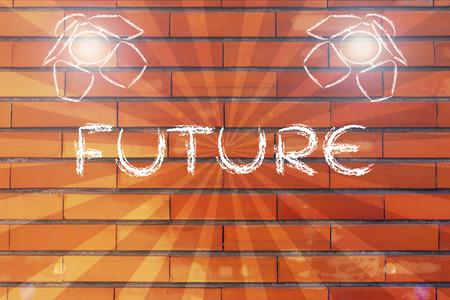 different goals: a bright future in the spotlights, illustration with stage lights and flare