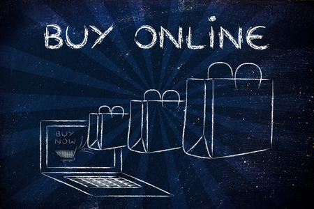 Buy Online, illustration with shopping bags coming out of a computer screen