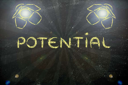 different goals: potential in the spotlights, illustration with stage lights and flare Stock Photo