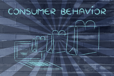 predictive: Consumer Behavior on the web, illustration with shopping bags coming out of a computer screen