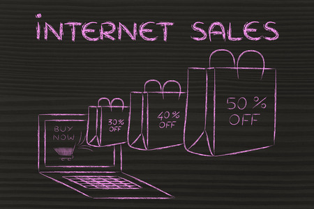 markdown: Internet Sales, illustration with shopping bags with reduced price coming out of a computer screen
