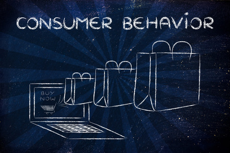 Consumer Behavior on the web, illustration with shopping bags coming out of a computer screen