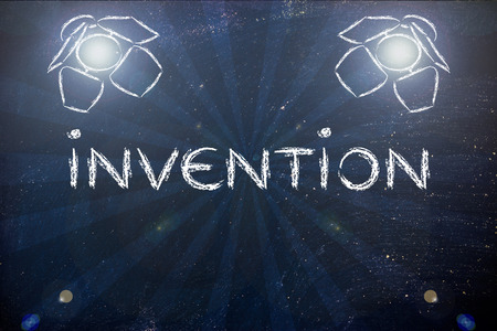 different goals: a good invention in the spotlights, illustration with stage lights and flare