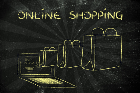 markdown: Online Shopping, illustration with shopping bags coming out of a computer screen Stock Photo