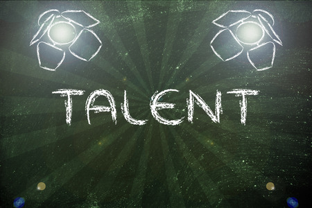 different goals: talent in the spotlights, illustration with stage lights and flare Stock Photo