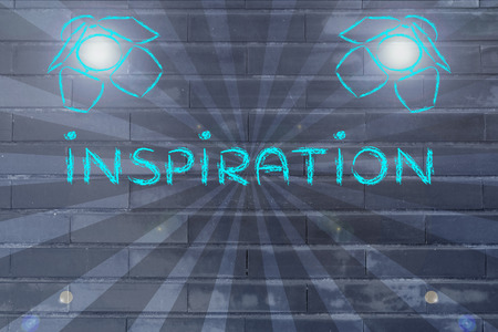 different goals: inspiration in the spotlights, illustration with stage lights and flare Stock Photo