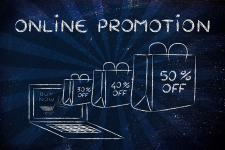 Online Promotion, illustration with shopping bags coming out of a computer screen Reklamní fotografie