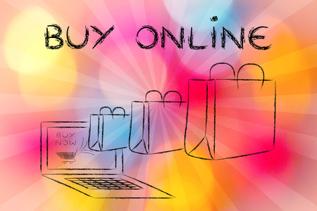 markdown: Buy Online, illustration with shopping bags coming out of a computer screen