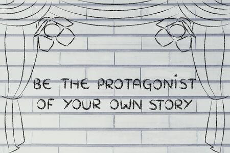 bloggers: be the protagonist of your own story: theatre stage as metaphor of the bloggers and followers relationship Stock Photo