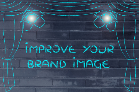 improve your brand image: theatre stage and spotlight as metaphor of marketing concepts Stock Photo