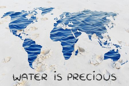 corporate waste: water is precious: surreal map of the world with sea pattern inside continents