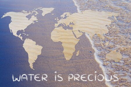 drinkable: water is precious: map of the world with desert sand pattern Stock Photo