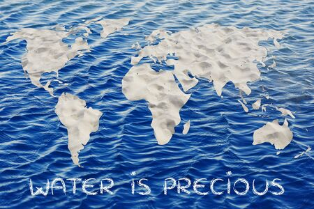 corporate waste: water is precious: map of the world with desert sand pattern Stock Photo