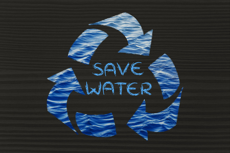 drinkable: saving water and caring about the environment: recycle symbol with sea pattern