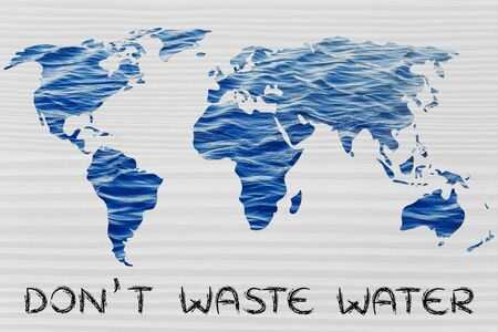 avoiding: avoiding water waste: surreal map of the world with sea pattern inside continents