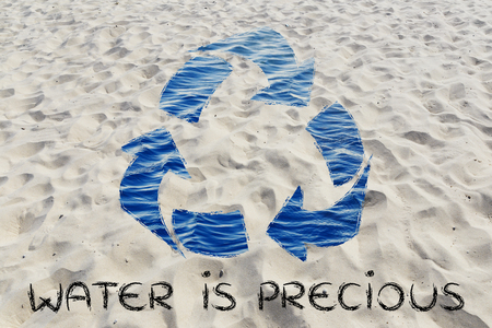 natural resource: water is a precious natural resource: recycle symbol with sea pattern