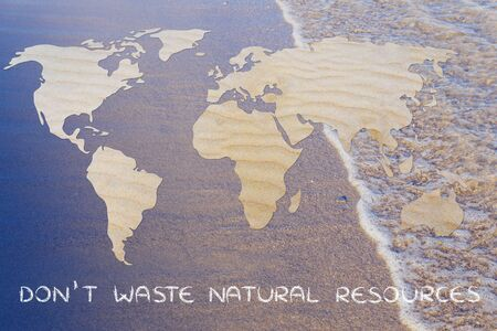 sea world: dont waste natural resources: map of the world with desert sand pattern Stock Photo