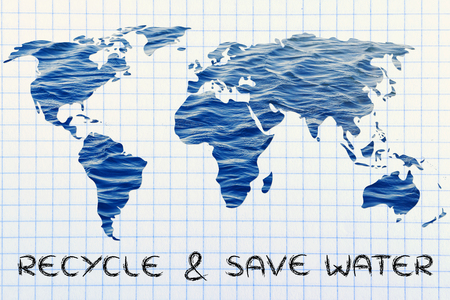 save the sea: recycle & save water: surreal map of the world with sea pattern inside continents Stock Photo
