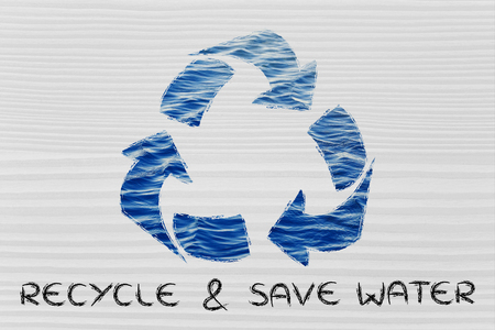 drinkable: saving water and environmental awareness: recycle symbol with sea pattern Stock Photo