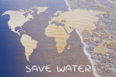 corporate waste: save water: map of the world with desert sand pattern