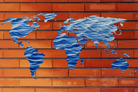 drinkable: concept of saving water and caring about the environment: surreal map of the world with sea pattern inside continents