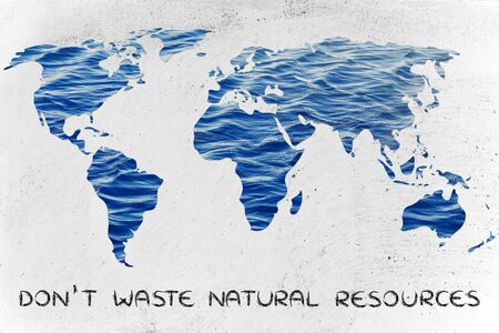 corporate waste: avoiding water waste: surreal map of the world with sea pattern inside continents