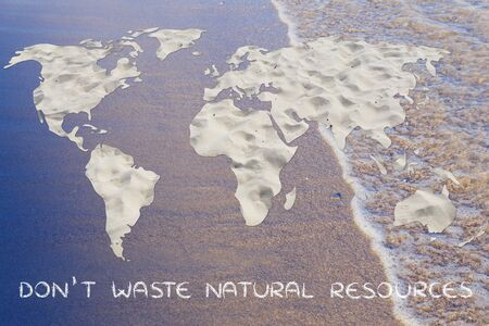 drinkable: dont waste natural resources: map of the world with desert sand pattern Stock Photo