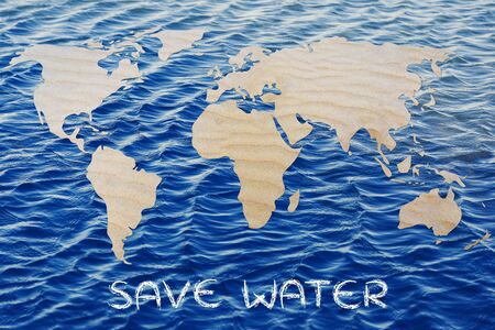 drinkable: save water: map of the world with desert sand pattern