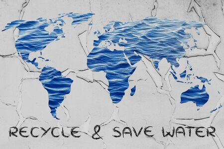 corporate waste: recycle & save water: surreal map of the world with sea pattern inside continents Stock Photo