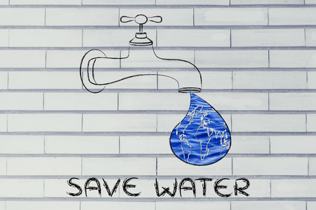 corporate waste: planet earth in a droplet from the tap (with ocean fill), illustration about saving water