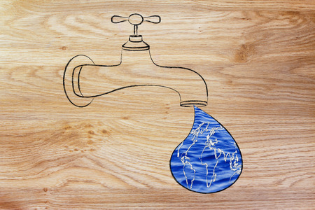 corporate waste: planet earth in a droplet from the tap (with ocean fill), illustration about respecting natural resources Stock Photo