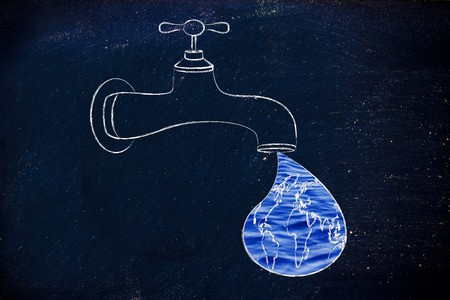 respecting: planet earth in a droplet from the tap (with ocean fill), illustration about respecting natural resources Stock Photo