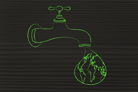 respecting: planet earth in a droplet from the tap, surreal illustration about respecting natural resources Stock Photo