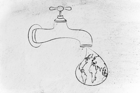 corporate waste: planet earth in a droplet from the tap, surreal illustration about respecting natural resources Stock Photo