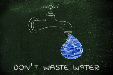 clean energy: planet earth in a droplet from the tap (with ocean fill), illustration about avoiding water waste