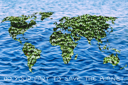 social behaviour: ecology, green economy and environmental awareness: green leaves world on ocean background