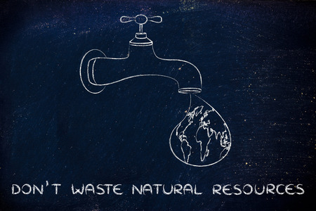 corporate waste: planet earth in a droplet from the tap (with ocean fill), illustration about not wasting natural resources