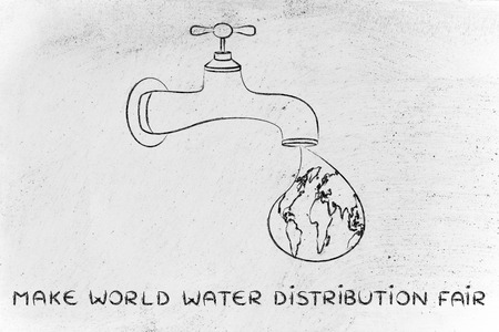 corporate waste: planet earth in a droplet falling from the tap, illustration about a fair safe water distribution