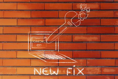 troubleshooting: Nuevo arreglo y solución de problemas mal funcionamiento: Llave de gran tamaño que sale de la pantalla del portátil Foto de archivo