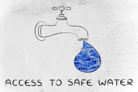 safe water: planet earth in a droplet from the tap (with ocean fill), illustration about giving access to safe water Stock Photo