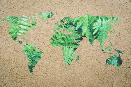 environmental awareness: desertification and environmental awareness: world with sand instead of oceans Stock Photo