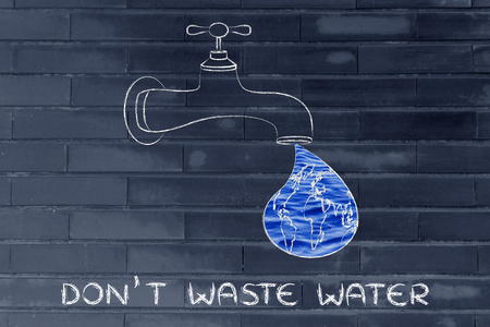 corporate waste: planet earth in a droplet from the tap (with ocean fill), illustration about avoiding water waste