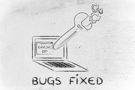 probleml�sung: fixing computer bugs and troubleshooting malfunctions: oversized wrench coming out of laptop screen
