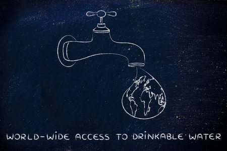 corporate waste: planet earth in a droplet from the tap,  providing world-wide access to drinkable water Stock Photo