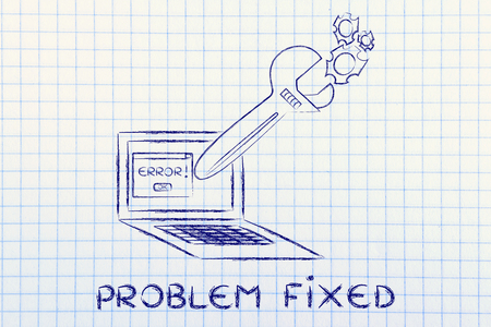 fixing computer problems and troubleshooting malfunctions: oversized wrench coming out of laptop screen