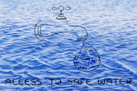 corporate waste: planet earth in a droplet from the tap (with ocean fill), illustration about giving access to safe water Stock Photo
