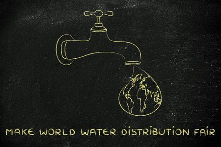 safe water: planet earth in a droplet falling from the tap, illustration about a fair safe water distribution