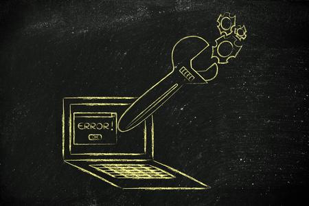 troubleshooting: corrigiendo errores informáticos y el mal funcionamiento de solución de problemas: Llave de gran tamaño que sale de la pantalla del portátil