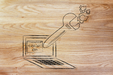 fixing computer bugs and troubleshooting malfunctions: oversized wrench coming out of laptop screen