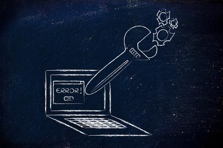 solucion de problemas: corrigiendo errores inform�ticos y el mal funcionamiento de soluci�n de problemas: Llave de gran tama�o que sale de la pantalla del port�til